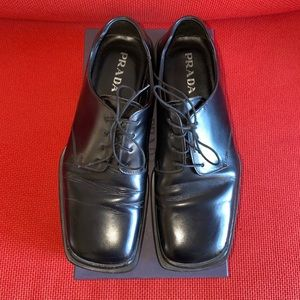 Prada Black Leather Square Toe Oxfords